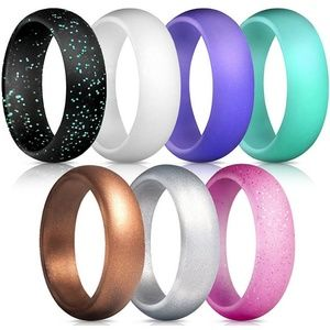 7 Pack Women's Silicone Wedding Band Rings Set